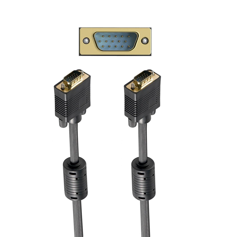 2 Nuclei di ferriti 10m contatti Dorati Risoluzione HDTV Fino a 2560x1600 Nero VGA Full HD Ewent Cavo SVGA