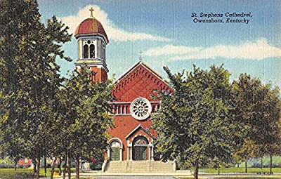 Owensboro Kentucky St Stephens Cathedral Street View Antique Postcard K59031