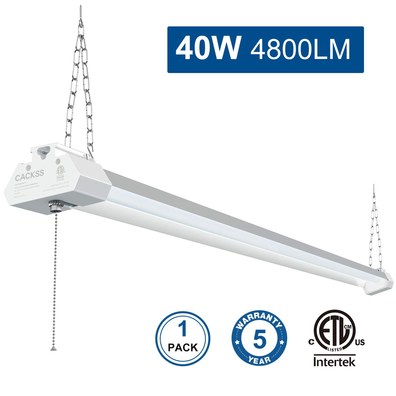 40W 4800LM LED Shop Light for Garage, 4FT Light Fixture with Pull Chain, 5000K Super Bright LED Utility Light with Frosted Cover, for Workshops Basement Storage Workbench, ETL Listed, Pack 1