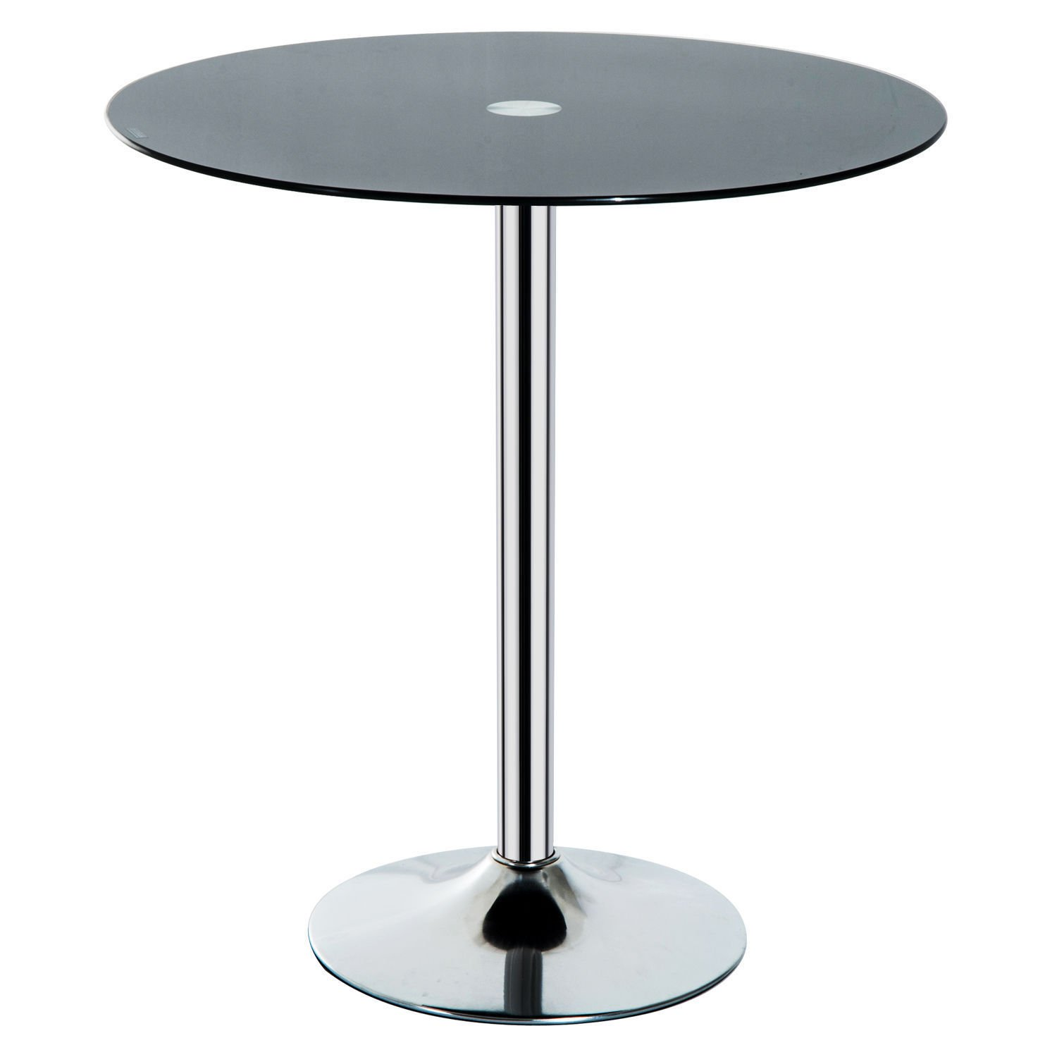 HOMCOM Modern 30'' Round Glass Top Iron Chrome Base Bistro Pub Side End Table - Charcoal Black