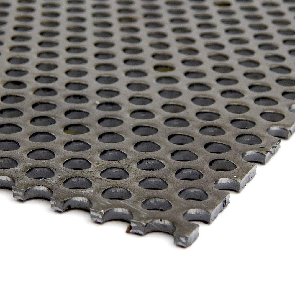 """A36 Steel Perforated Sheet, Unpolished (Mill) Finish, Hot Rolled, Staggered 0.25"""" Holes, ASTM A36, 0.1875"""" Thickness, 7 Gauge, 24"""" Width, 48"""" Length, 0.375"""" Center to Center"""