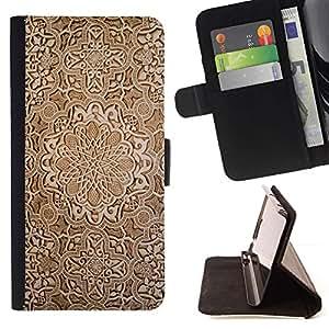 Momo Phone Case / Flip Funda de Cuero Case Cover - Fondo de pantalla de talla de madera de Brown Dise?o Arte - Huawei Ascend P8 Lite (Not for Normal P8)