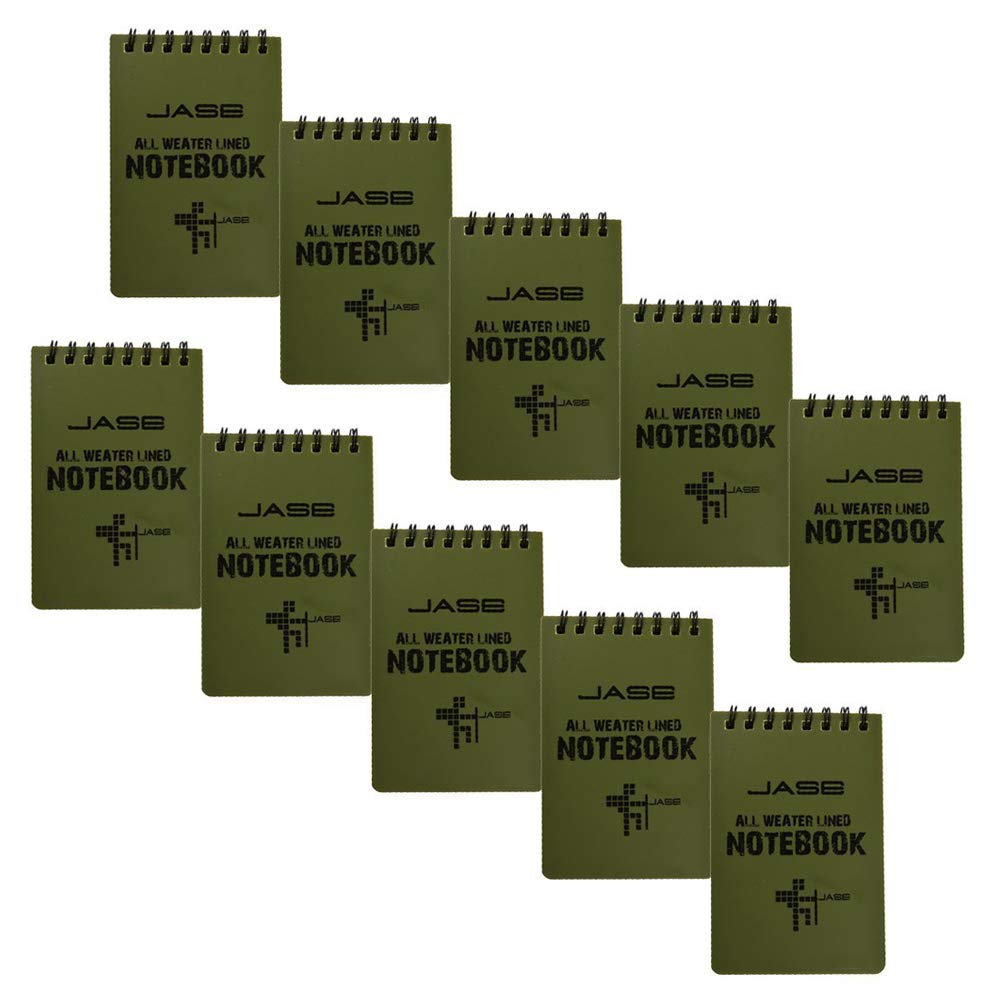 CUGBO 10 Pack Waterproof Notebook, All-Weather Pocket Sized Tactical Notepad, Top Spiral Memo Grid Paper Notepad for Outdoor Activities Recording(Army Green,3.2''x5.5'')