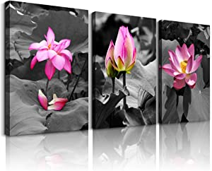 """Canvas Wall Art for living room bathroom Wall Decor for bedroom kitchen artwork Canvas Prints green plant flowers painting 12"""" x 16"""" 3 Pieces Modern framed office Home decorations family picture"""