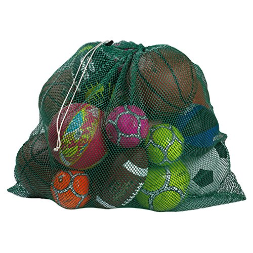 """Mesh Equipment Bag, Green - 24"""" x 36"""" - Adjustable, sliding drawstring cord closure. Perfect mesh bag for parent or coach, making it easy to transport and keeping your sporting gear organized. ()"""