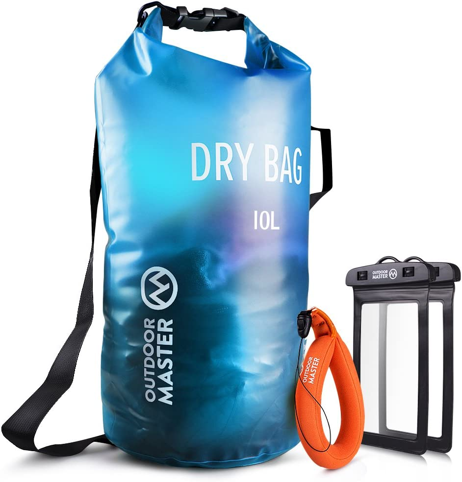 OutdoorMaster Dry Bag -Waterproof Bag Compression Sack with 2 Cell Phone Cases -Kayak Accessories Waterproof Backpack for The Beach, Boating, Fishing, Kayaking, Swimming, Rafting