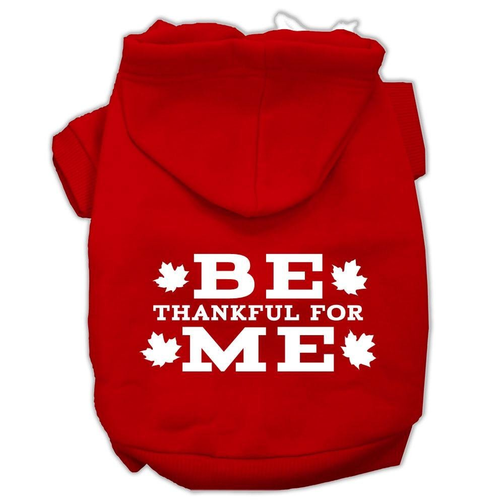 Mirage Pet Products Be Thankful for Me Screen Print Pet Hoodies Red, X-Small