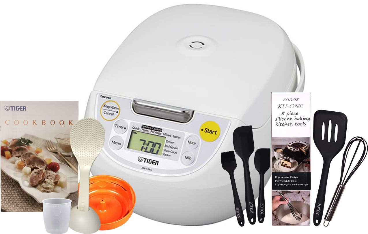 Tiger Corporation JBV-S18U Microcomputer Controlled 4 in 1 Rice Cooker, (10 Cups Uncooked/20 Cups Cooked), White & Zonoz Premium 5-Piece Silicone Spatula Set Bundle