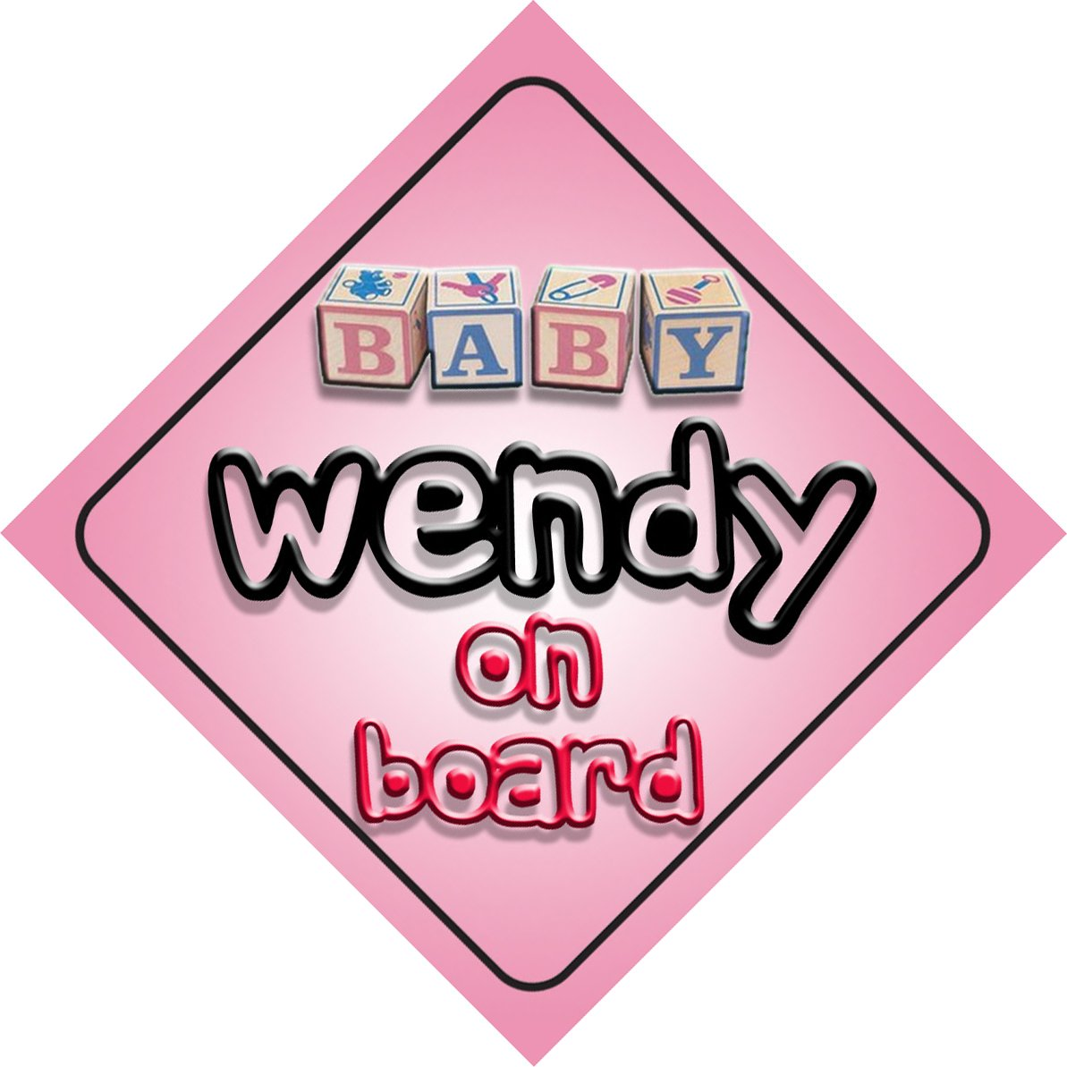 Baby Girl Wendy on board novelty car sign gift / present for new child / newborn baby Quality Goods Ltd
