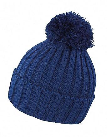 726763762ba Bonnet pour Femme et Homme tricoté en grosse maille avec pompon  Amazon.fr   Vêtements et accessoires