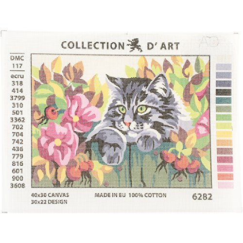 RTO Cat Behind a Fence D'Art Needlepoint Printed Tapestry Canvas, 30 x 40cm by RTO