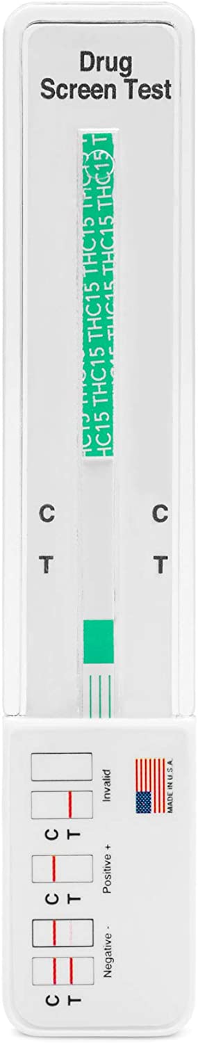 1 Pack - DrugExam Made in USA Most Sensitive Marijuana THC 15 ng/mL Single Panel Drug Test Kit - Marijuana Drug Test with15 ng/mL Cutoff Level for Detecting Any Form of THC in Urine up to 45 Days (1)
