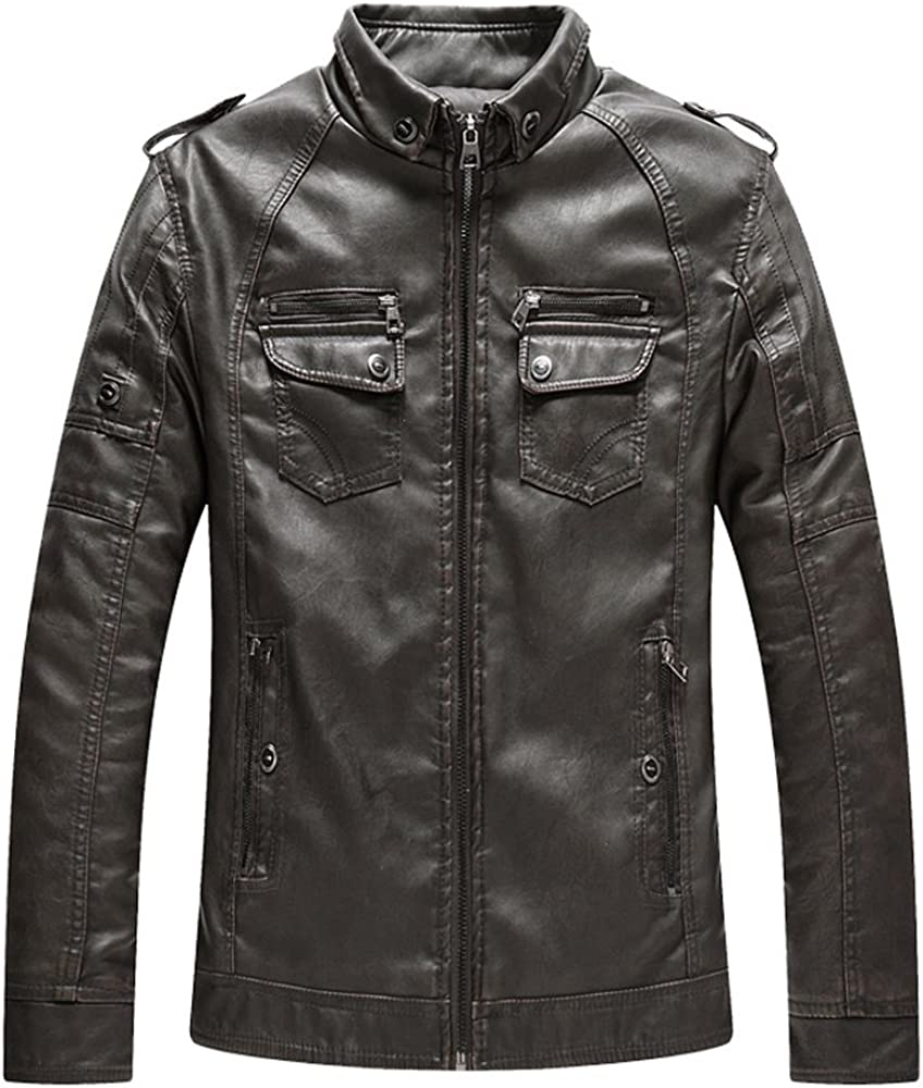 S/&S-Men Casual Solid Stand Collar Zip-Up Fleece Lined Quilted PU Leather Jacket