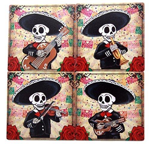 Atlantic Collectibles Day Of The Dead Skeleton Mariachi Band Coaster Set of Four Ceramic Tiles With Cork Backing Dias De Muertos Coasters