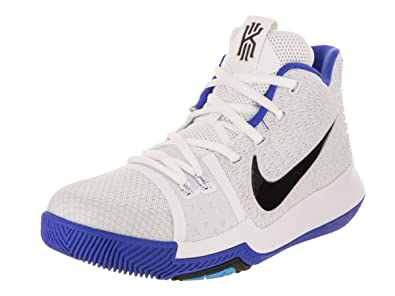 Nike Kids Kyrie 3 GS, WHITEBLACK-HYPER COBALT, Youth Size 4.5