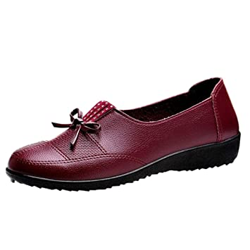 LuckyGirls Zapatos de Tacón Bajo de la Señora de Mediana Edad Slip On Bowknot Zapatillas Mocasines: Amazon.es: Deportes y aire libre