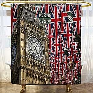 Anhounine Union Jack Shower Curtains Waterproof UK Flags Background With Big Ben Festive Celebrations Loyalty Custom