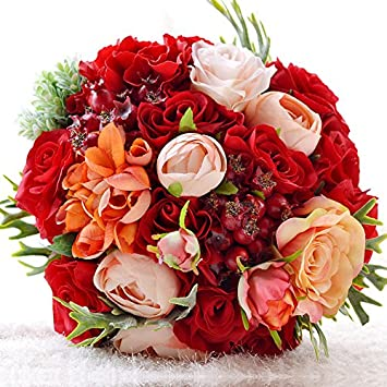 Amazon abbie home red roses wedding bouquets champagne blush abbie home red roses wedding bouquets champagne blush rose for bride real touch silk flowers for mightylinksfo