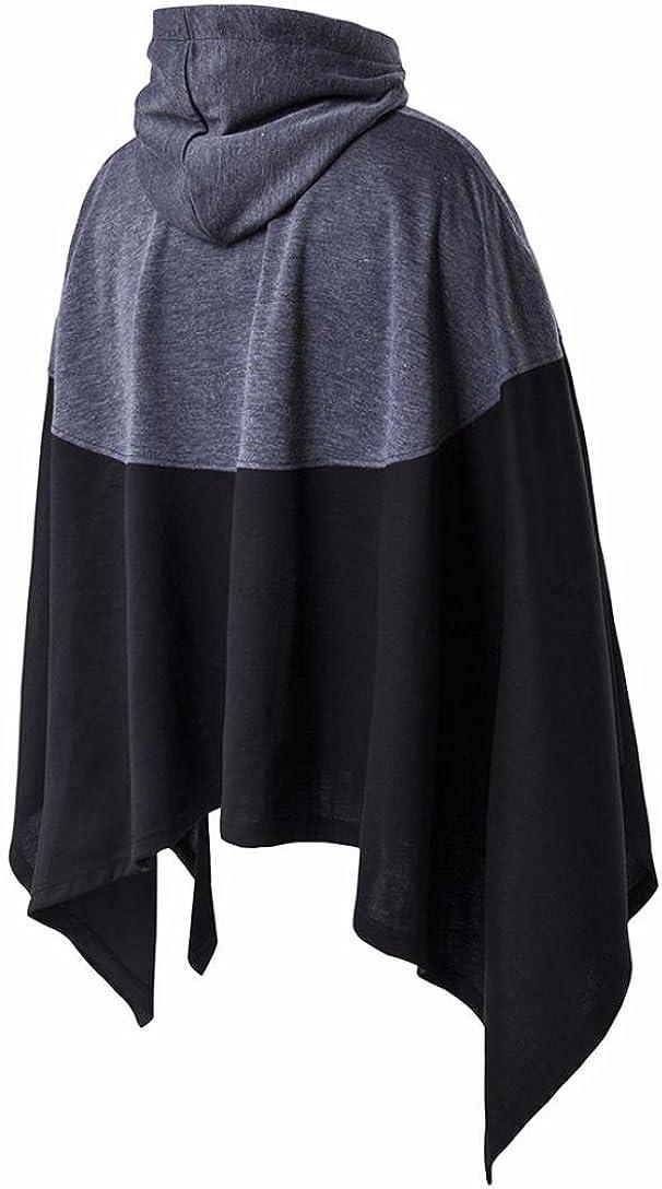 Han Shi Cape Coat Mens Hooded Bat Sleeves Patchwork Loose Poncho Cloak Jacket Sweatshirt