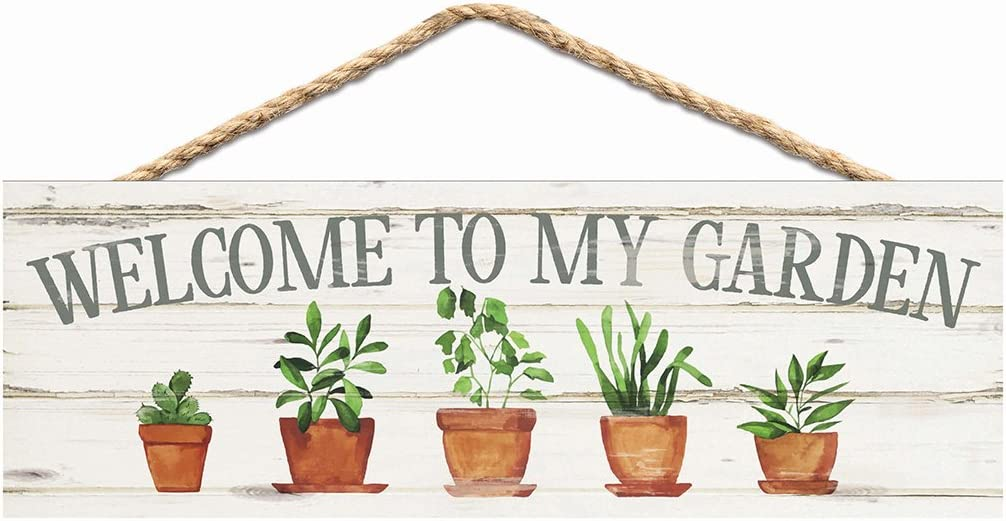 P. Graham Dunn Welcome to My Garden Plants Whitewash 10 x 3.5 Inch Pine Wood Slat Hanging Wall Sign