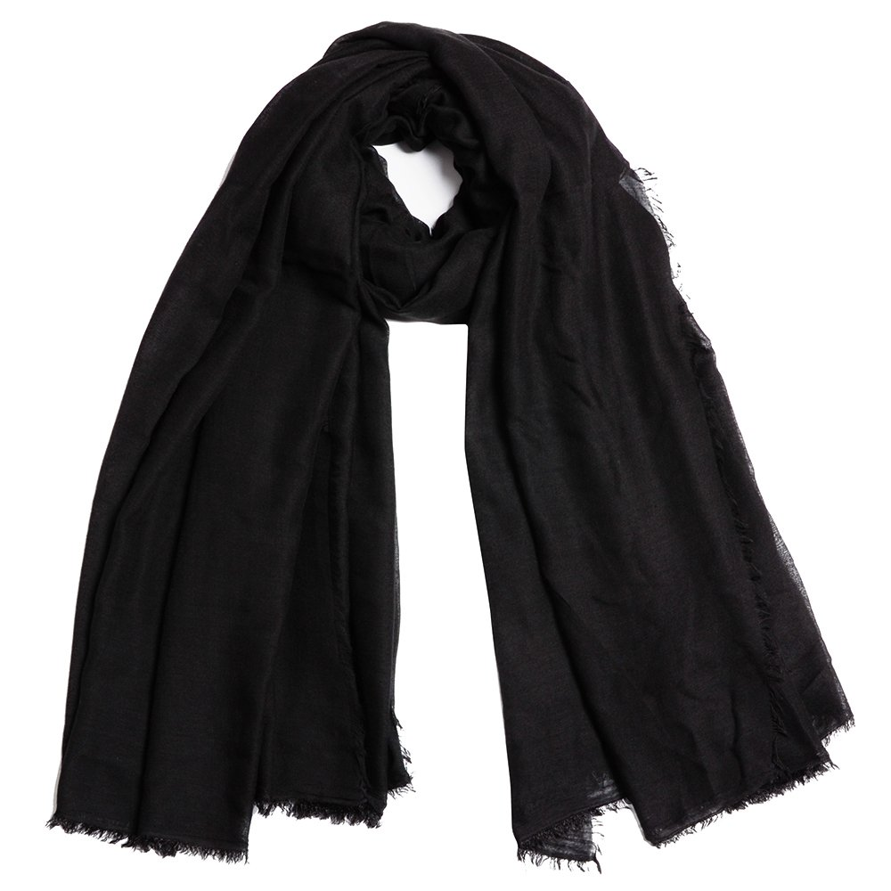 QBSM Womens Black Soft Large Scarfs Crinkle Head Hijab Solid Cotton Light Weight Sheer Holiday Shawls Wraps Cover Up for Women