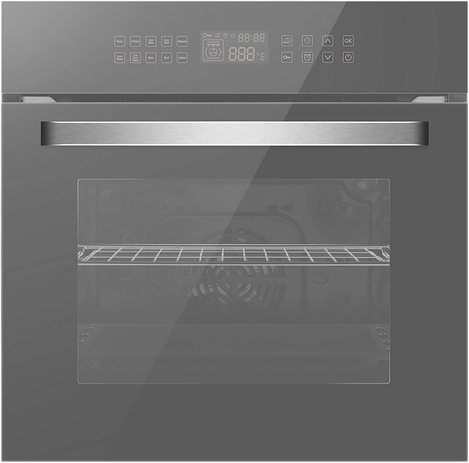 Empava 24 Electric Convection Single Wall Oven 10 Cooking Functions Deluxe 360 ROTISSERIE with Sensitive Touch Control in Silver Mirror Glass EMPV-SOC17, SOC17