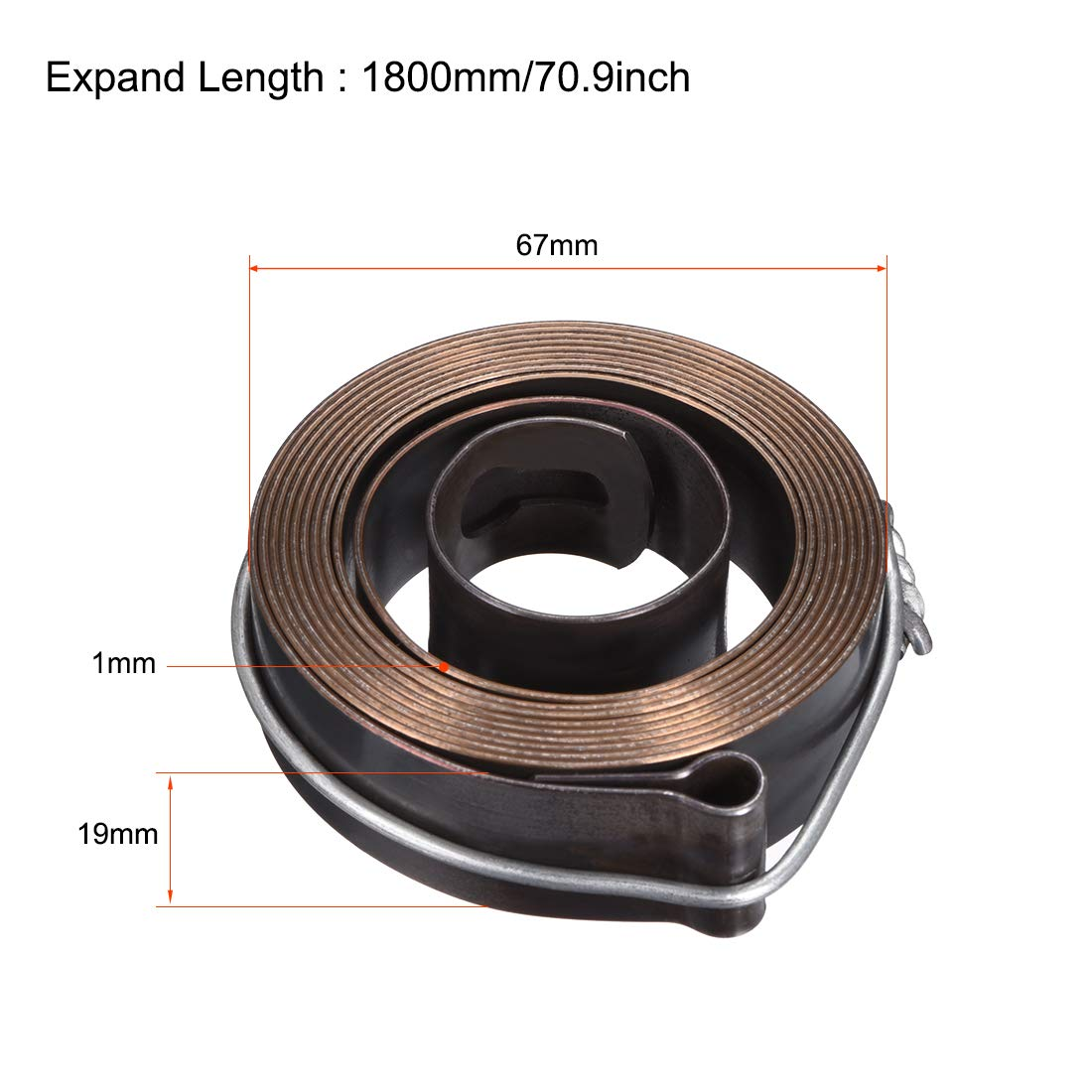 ODxWxT 1800mm Long 67 x 19 x 1mm Quill Spring Feed Return Coil Spring Assembly uxcell Drill Press Return Spring