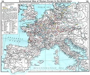 Carte De Leurope De Louest Ecclésiastiques Le Moyen âge Autour