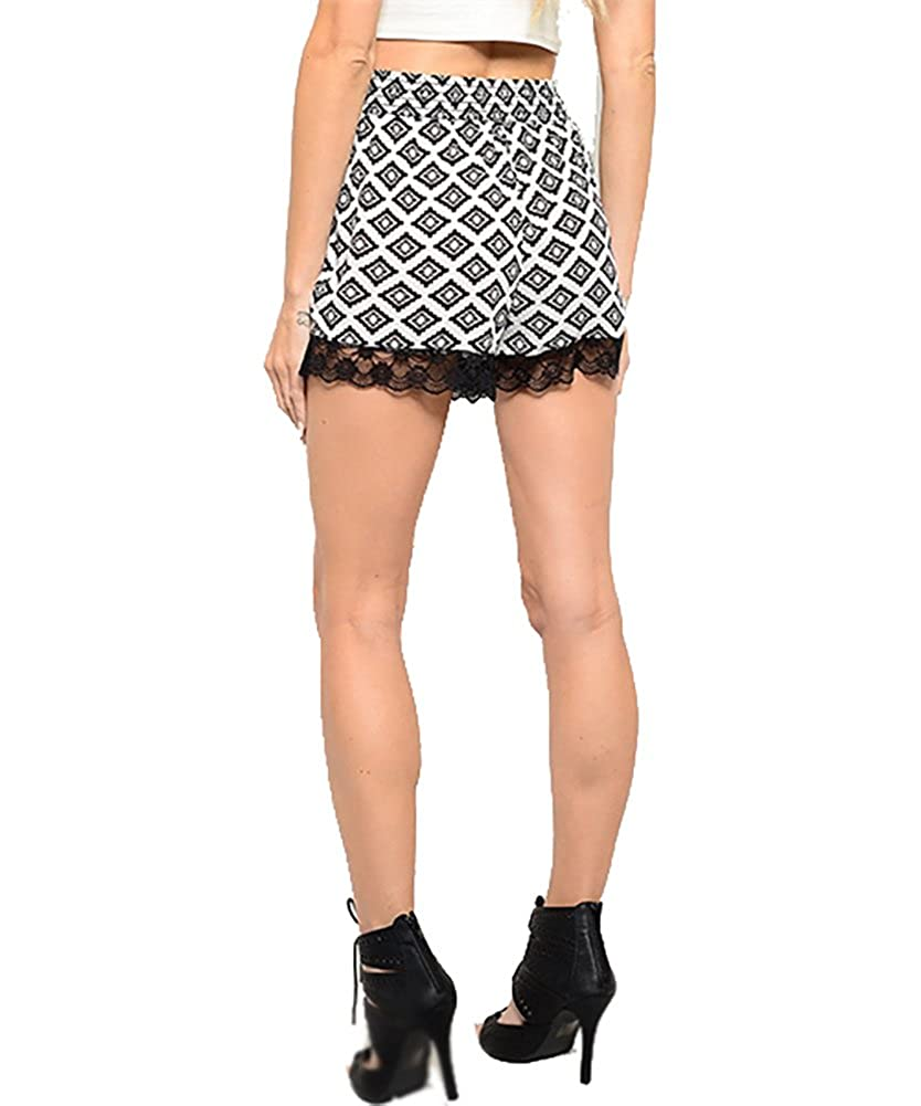 On Trend for Less Womens Tribal Print High Waisted Lace Shorts