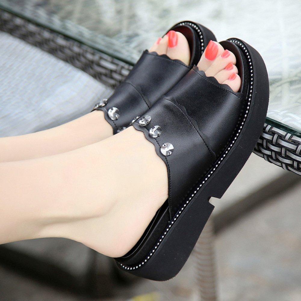XING GUANG Plus Size 40-43 Keilabsatz Hausschuhe Weibliche Sommer Neue Koreanische Version von Schwamm Kuchen Mode Tragen Dicke Sandalen und Hausschuhe,Black(38)  Black(38)