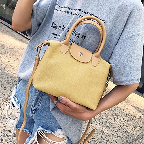 Shoulder Messenger Crossbody Handbag Canvas Shopping Women Ecotrump Totes Bag Yellow Casual UwEqpPXT