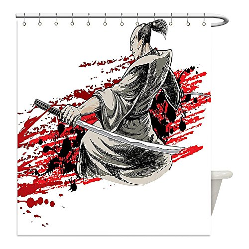 Liguo88 Custom Waterproof Bathroom Shower Curtain Polyester Japanese Decor Collection Asian Assassin with Sword on Bloody Background Professional Killer Eastern Mythology Black Red Decorative bathroo - Easy Jeff The Killer Costume