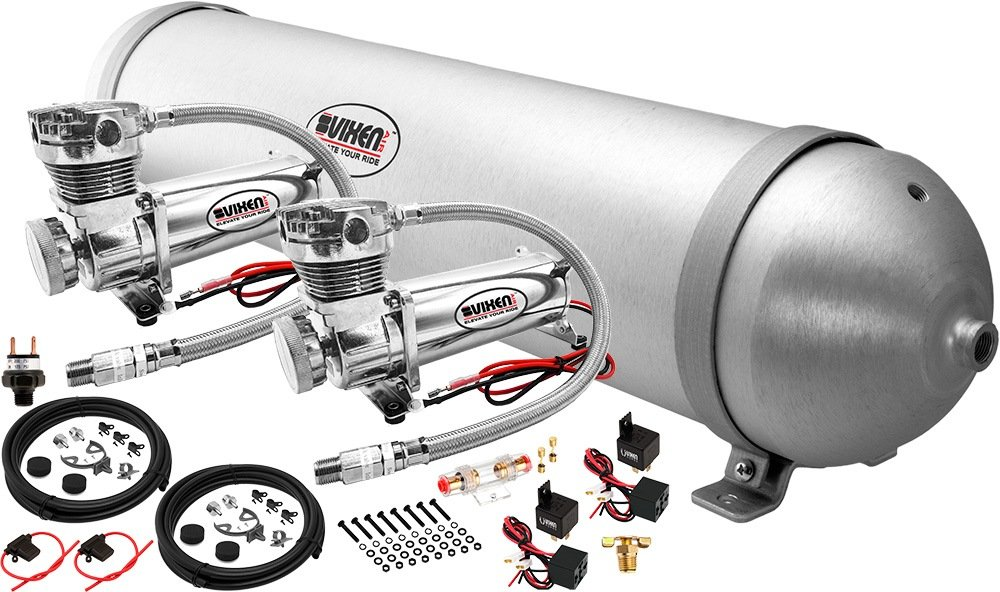 Vixen Air 5 Gallon (18 Liter) Aluminum Tank with Dual 200 PSI Chrome Compressor Onboard System/Kit for Suspension/Train Horn 12V VXO4850DC