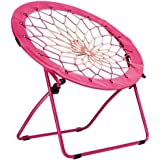 CAMPZIO Bungee Chair Round Bungee Chair Folding Comfortable Lightweight Portable Indoor Outdoor - Pink