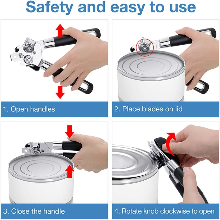Heavy Duty Stainless Steel Sharp Blade with Ultra Sharp Cutting,3-In-1 Can Openers,Anti Slip and Ergonomic Hand Grip Kurail Manual Can Opener
