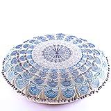 Mandala Life ART Bohemian Floor Cushion –Luxury, Artisan Room Décor Pouf Meditation, Yoga Boho Chic Seating Area Floor Pillow – – Handmade in India