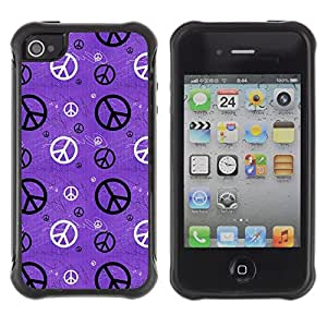 Suave Caso Carcasa de Caucho Funda para Apple Iphone 4 / 4S Hippie Sign Symbol Peace Wallpaper Art / JUSTGO PHONE PROTECTOR