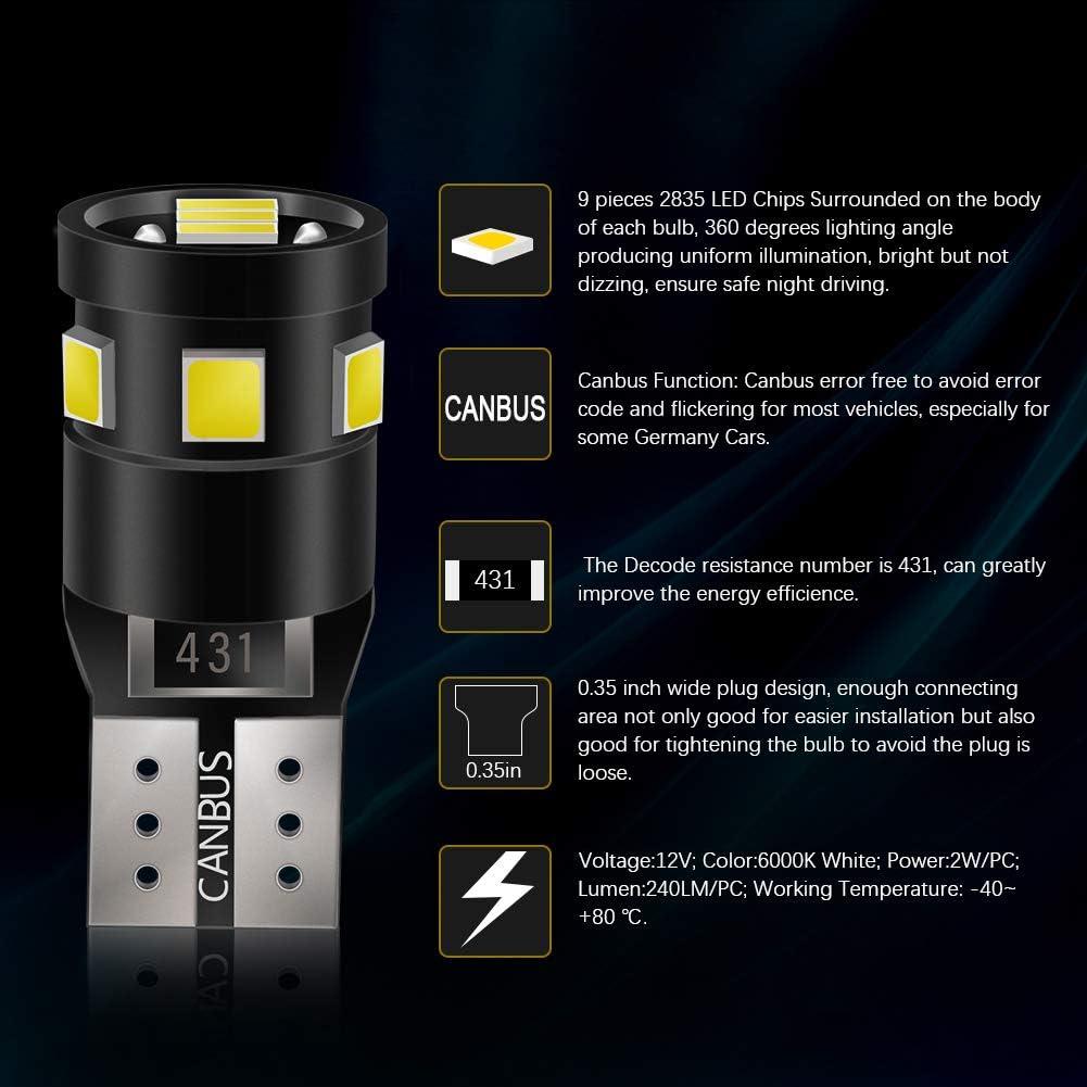 T10 LED Bulbs White Canbus Error Free Goushine 194 LED Bulb Canbus Error Free Super Bright White 9-SMD 2835 Chipsets 168 LED Light Bulbs-T10 W5W 194 168 2835 Pack of 10