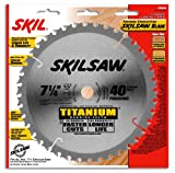 SKIL 75940 Titanium 7-1/4-Inch 40 Tooth ATB Thin Kerf Crosscutting Saw Blade with 5/8-Inch and Diamond Knockout Arbor