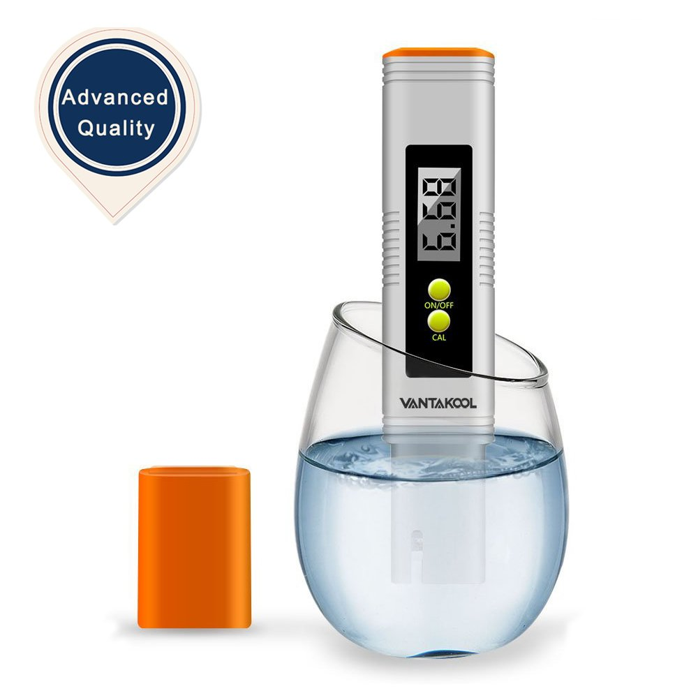 Digital PH Meter, Pocket Size Water Quality Test Meter with 0.00-14.00 Measurement Range and Large LCD Display for Household Drinking Water, Aquarium, Swimming Pools, Hydroponics(Upgraded) (Orange)