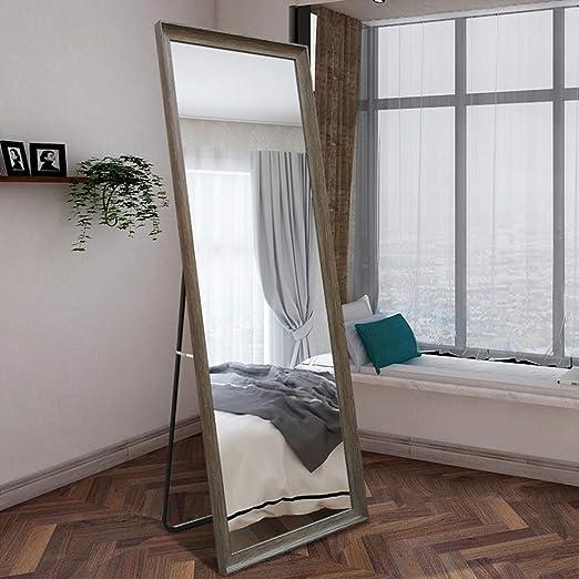 Espejo de suelo sencillo en toda su longitud para el hogar, dormitorio, con soporte, espejo de maquillaje, para el trabajo, espejo de montaje, espejo de cuerpo entero, resina, nogal, 70 * 170cm:
