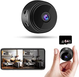 Mini Spy Cameras Hidden - 1080P HD Small Portable Wireless Home Security Surveillance Cameras - Tiny Nanny Cam with Night Vision and Motion Detection - 2021 Upgraded Version - with 64G SD Card