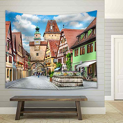 Beautiful View of The Historic Town of Rothenburg Ob Der Tauber Franconia Bavaria Germany Fabric Wall