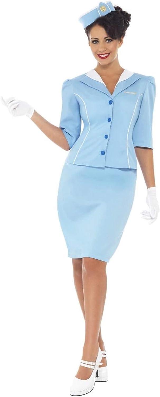 Smiffys Smiffys-22117S Disfraz de azafata del Aire, con Chaqueta ...