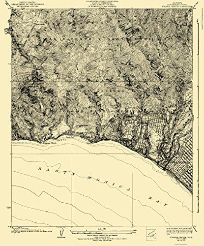 Topographical Map - Topanga Canyon California Quad - USGS 1926 - 23 x 27.72 - Matte - Of Canyon Map Topanga