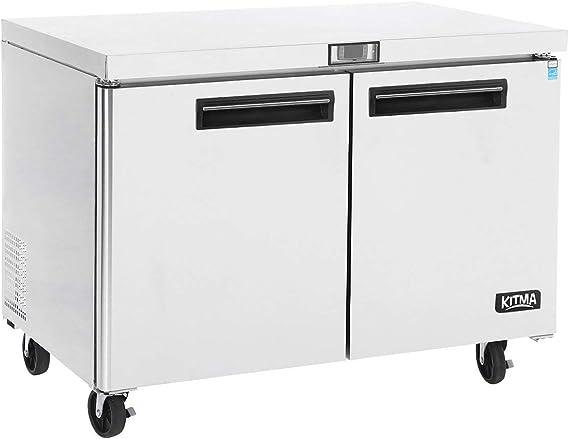 Commercial 2 door Undercounter Refrigerators - KITMA 13.5 Cu. Ft Stainless Steel Side by Side Worktop Fridge for Kitchen