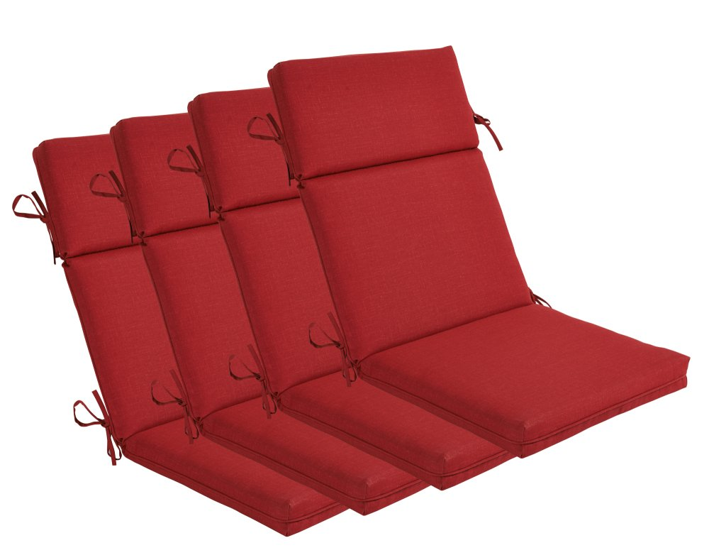 BOSSIMA Indoor Outdoor High Back Chair Cushions Replacement Patio Chair Seat Cushions Set of 4 Rust Red