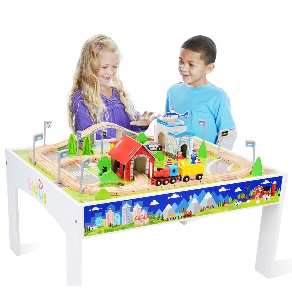 KAJA 80 Pieces Wooden Train Track Set with Table for Kids Toddlers Creative Play Train Table Toy