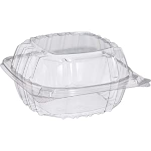 Small Clear Plastic Hinged Food Container 6x6 for Sandwich Salad Party Favor Cake Piece (Pack of 75)