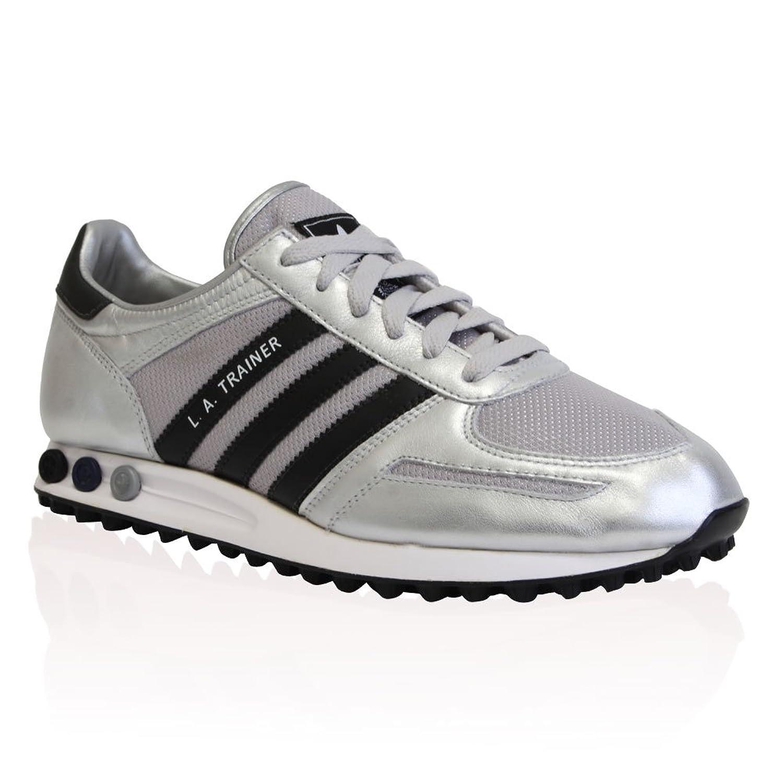 Mens Silver Adidas Originals La Trainer 3 Stripes Trainers Shoes Size 12
